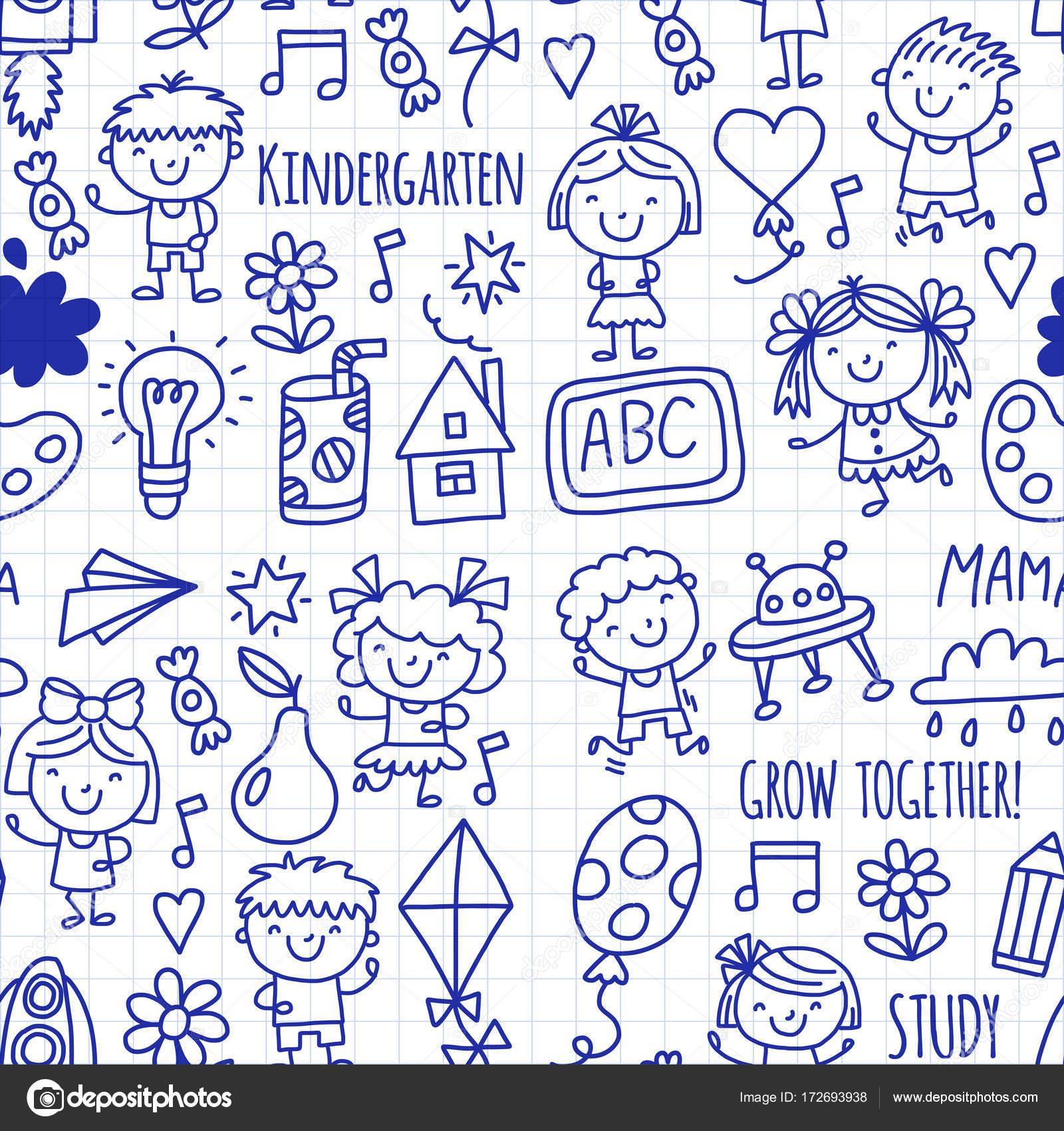 De patrones sin fisuras los niños dibujo a niños Kinder escuela ...