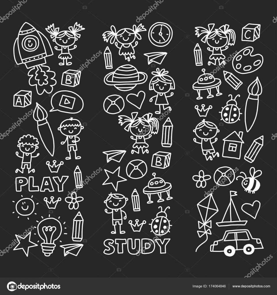 Kindergarten Vorschule Kindergarten Bildung Mit Kindern Doodle