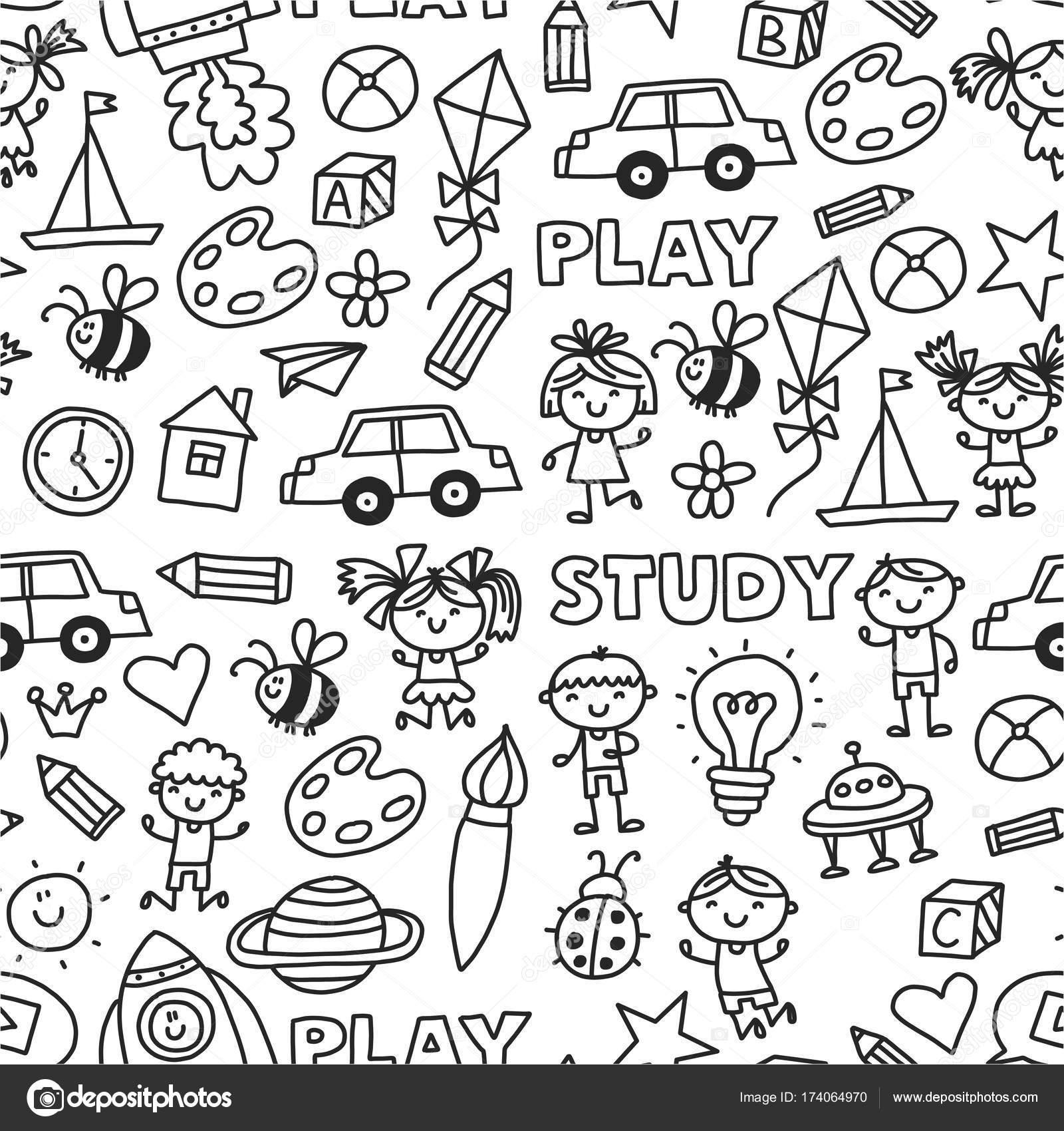 Kindergarten Vorschule Kindergarten Bildung mit Kindern, die Doodle ...