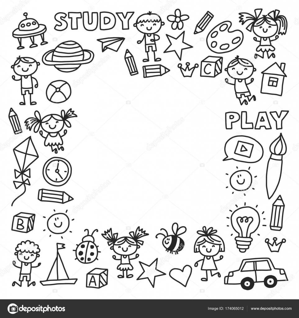 Kindergarten Vorschule Kindergarten Bildung Mit Kindern Die Doodle