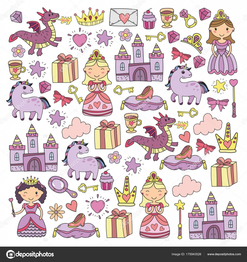 Set of doodle princess and fantasy icon and and design element for set of doodle princess and fantasy icon and and design element for invitation and greeting card stopboris Choice Image