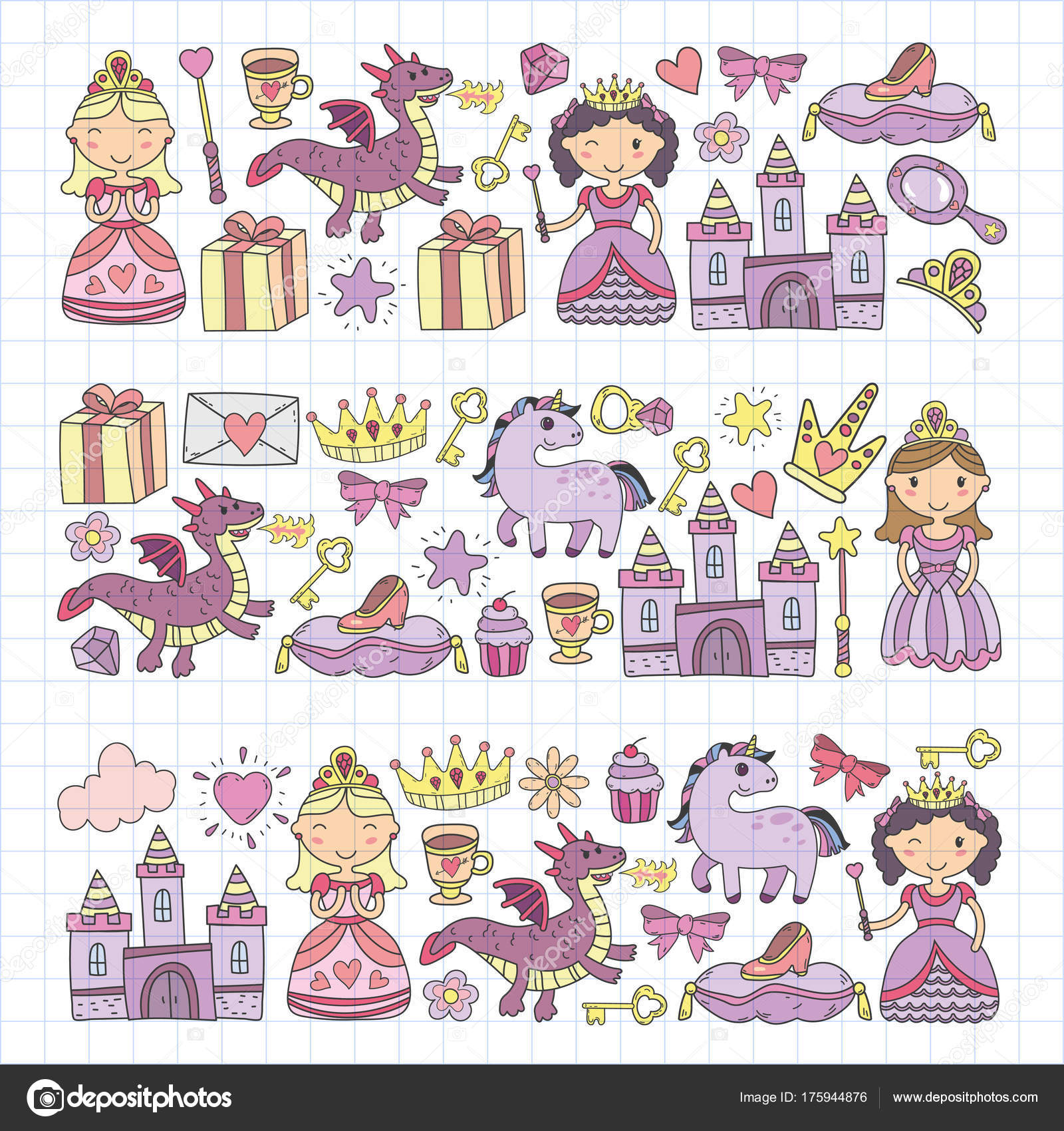 Imágenes Para Tarjetas De Princesas Conjunto De Icono De