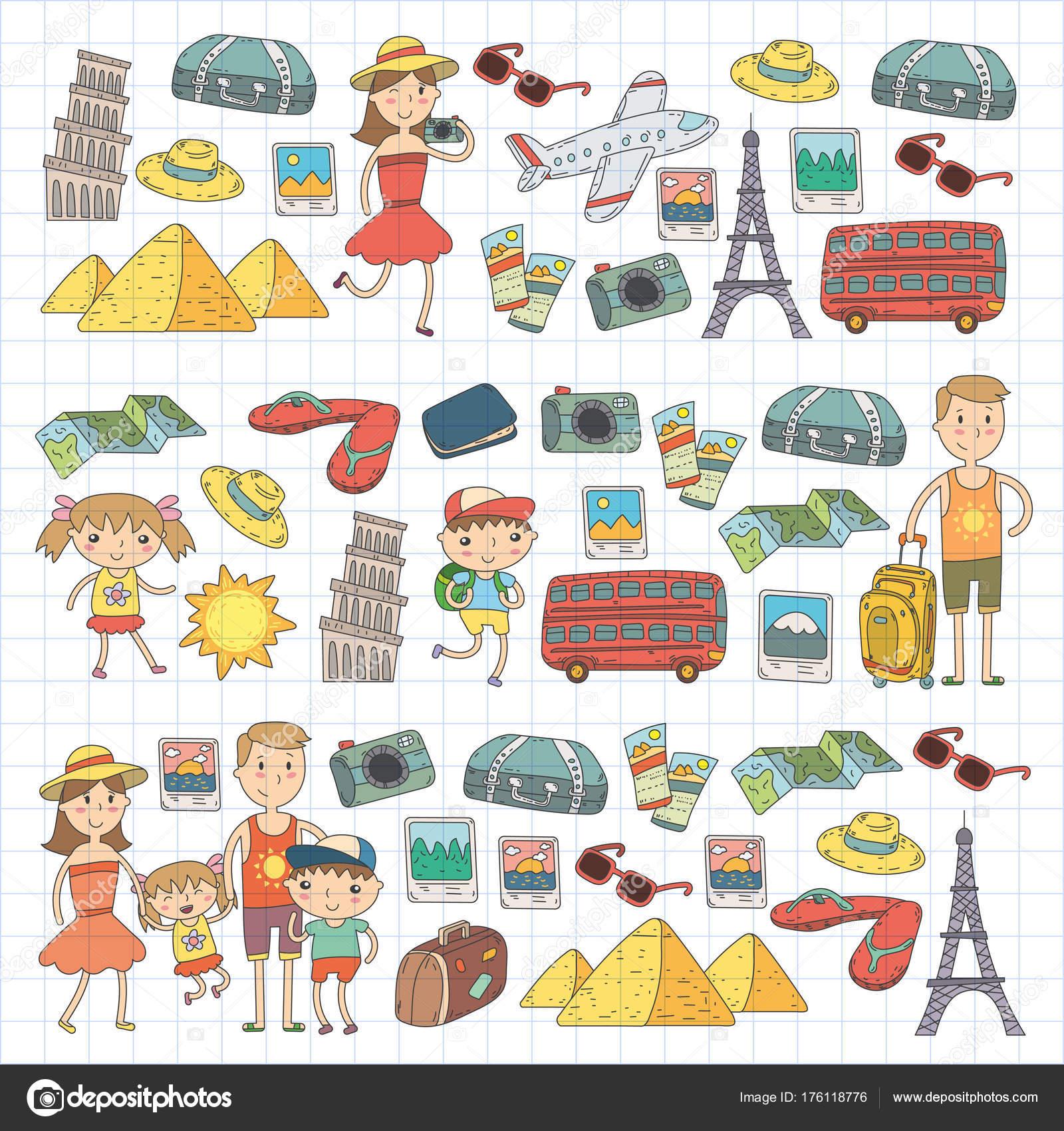 Doodle Vector Set Travel Vacations Adventure Children With Parents Preparing For Your Journey Kindergarten School Summer Vacation Kids Drawing