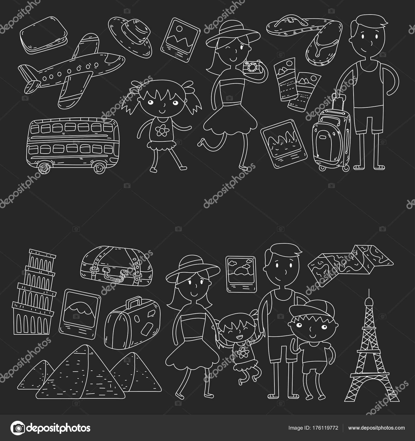 Doodle Vektorove Sada Cestovani Dovolena Dobrodruzstvi Deti S