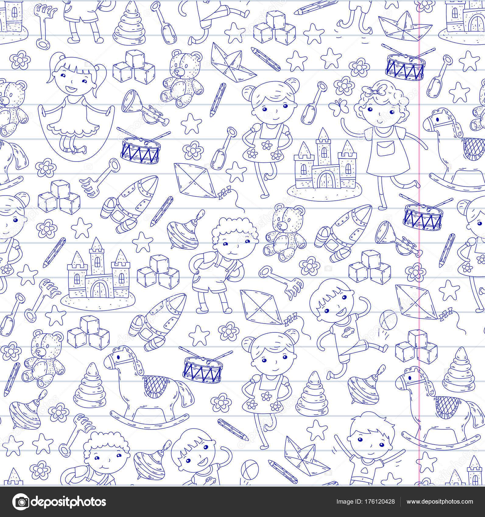Educación de Kinder guardería preescolar con niños Doodle patrón ...