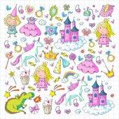 Fotografie niedliche Prinzessin Ikonen Set mit Einhorn, Drachenmädchen Tapete Baby Dusche Einladung Kindergarten, Vorschule, Kinderkrippe, Geburtstag, Schulparty