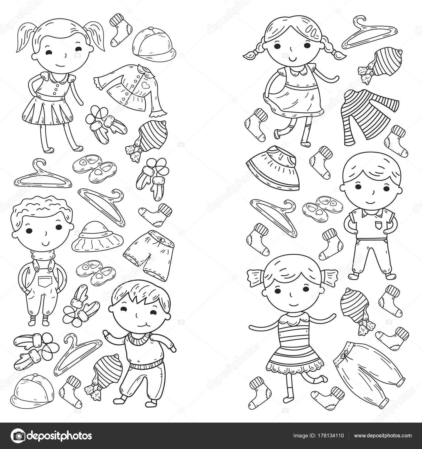 Conjunto de niños ropa. Iconos de vector. Jardín de la infancia ...