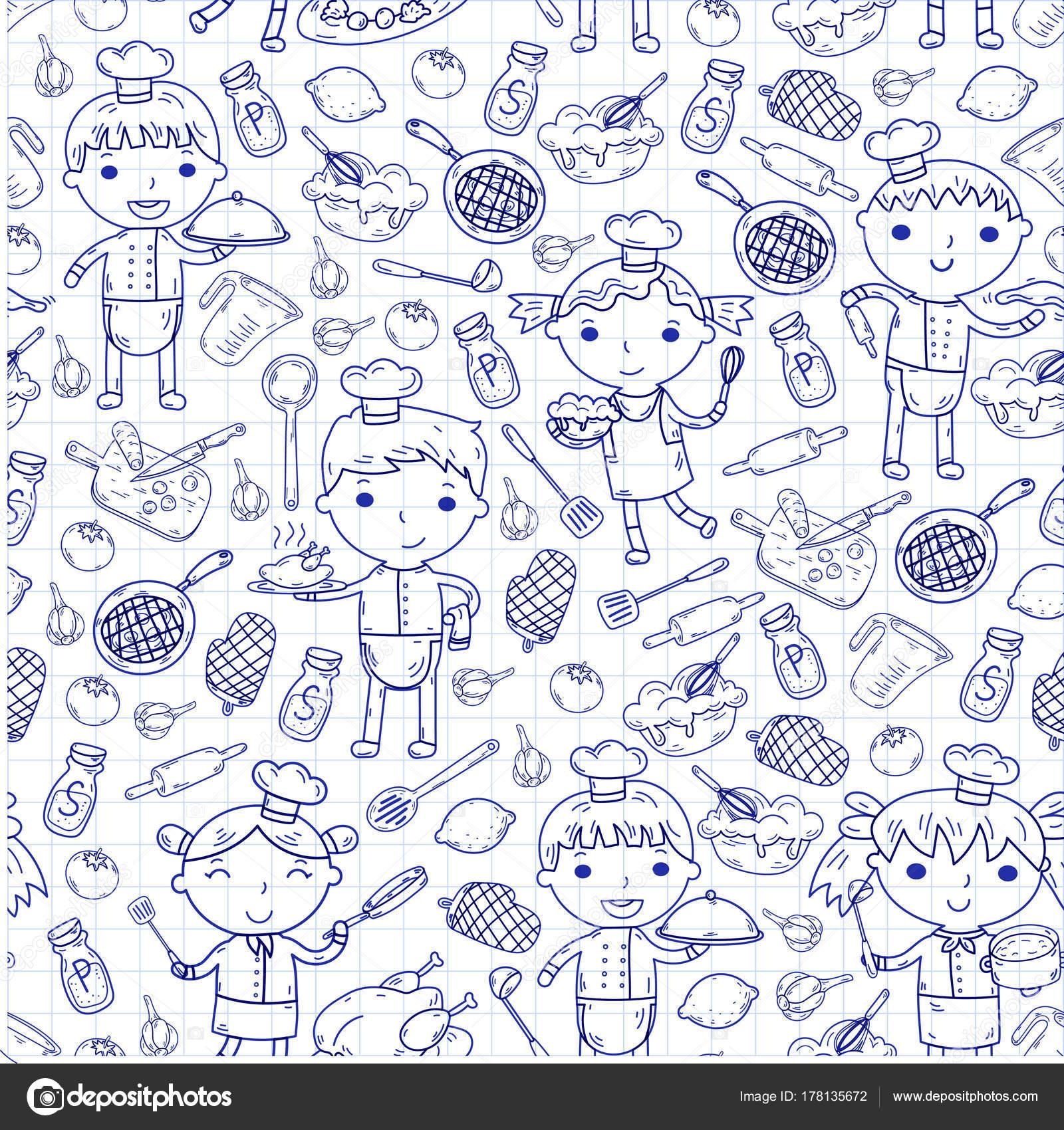 Cute Kids Chef on white background Children cooking Kitchen children ...