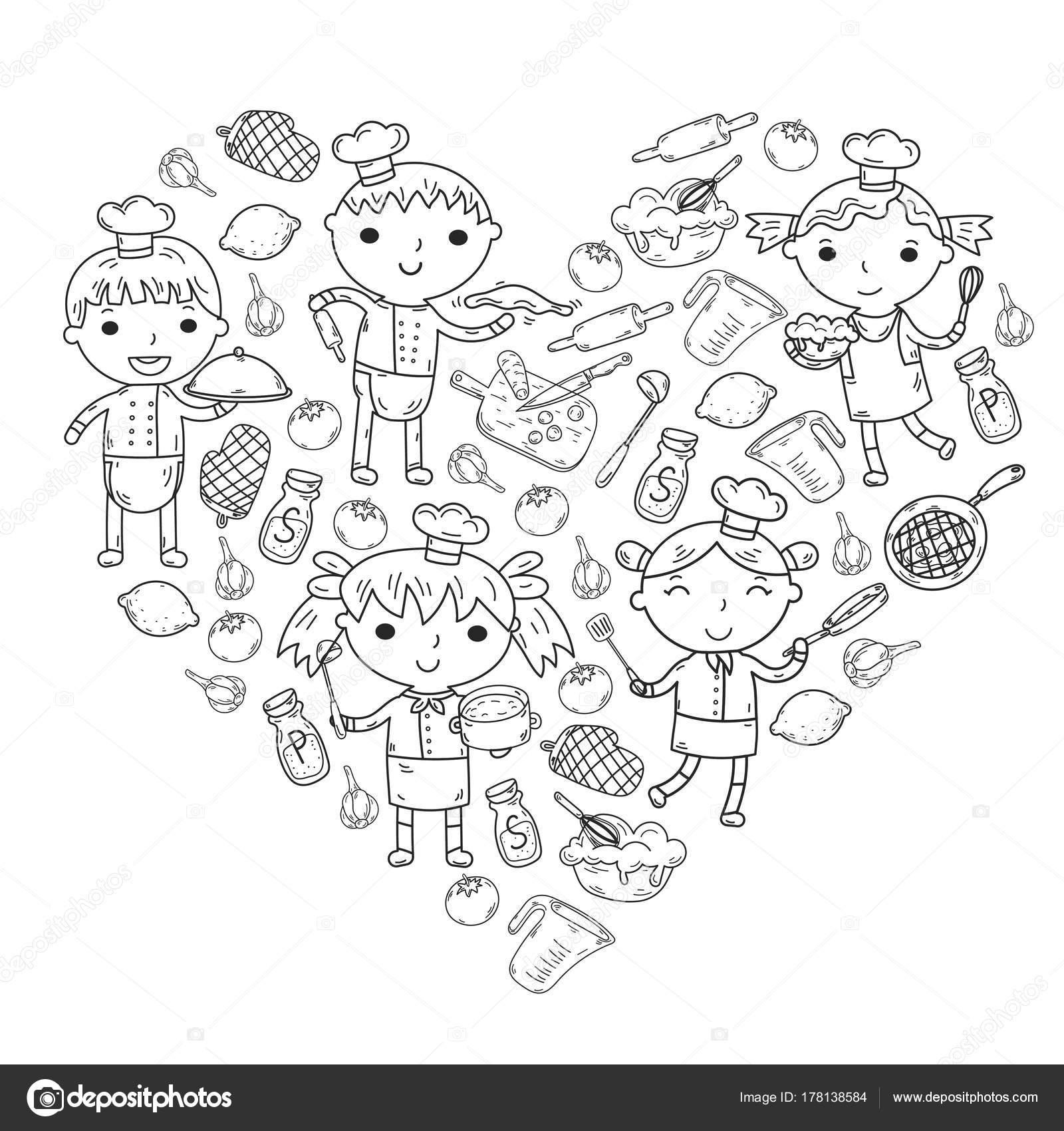 Niedliche Kinder-Chef auf weißem Hintergrund Kinder kochen Küche ...