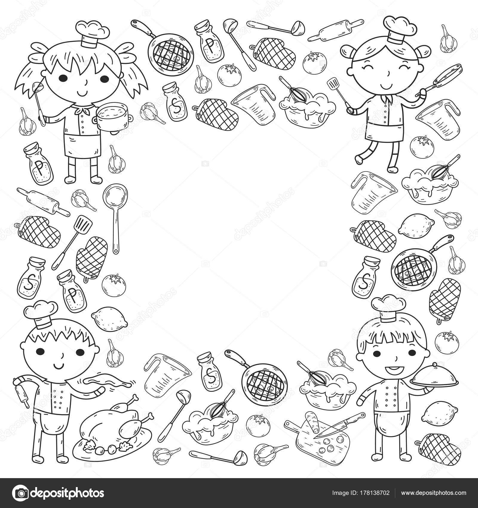 Sevimli çocuklar şef Beyaz Arka Planda çocuk Mutfak çocuk Yemek