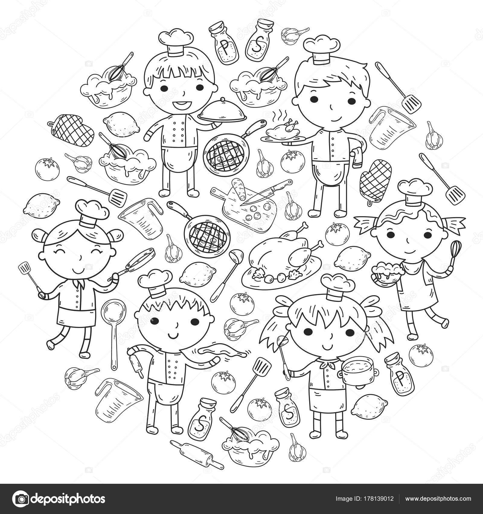 chef op witte achtergrond kinderen koken keuken