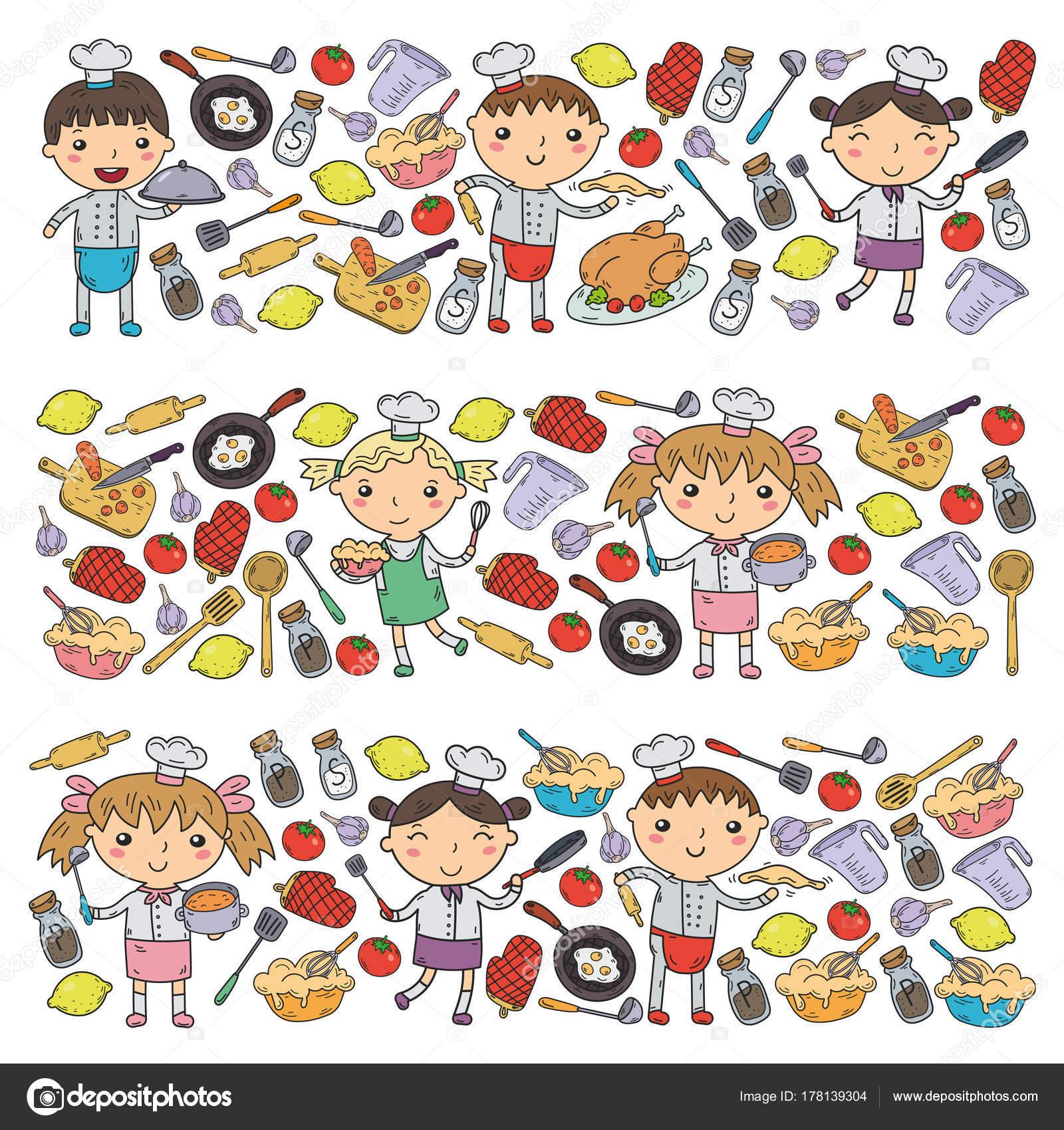 Niedliche Kinder Chef Auf Weissem Hintergrund Kinder Kuche Kinder