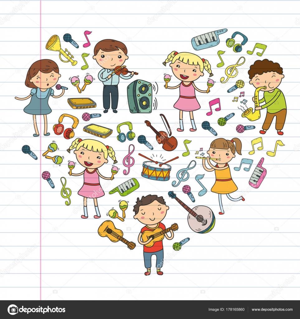 音楽学校子供ベクトル イラスト子供の幼稚園落書きアイコン コレクション
