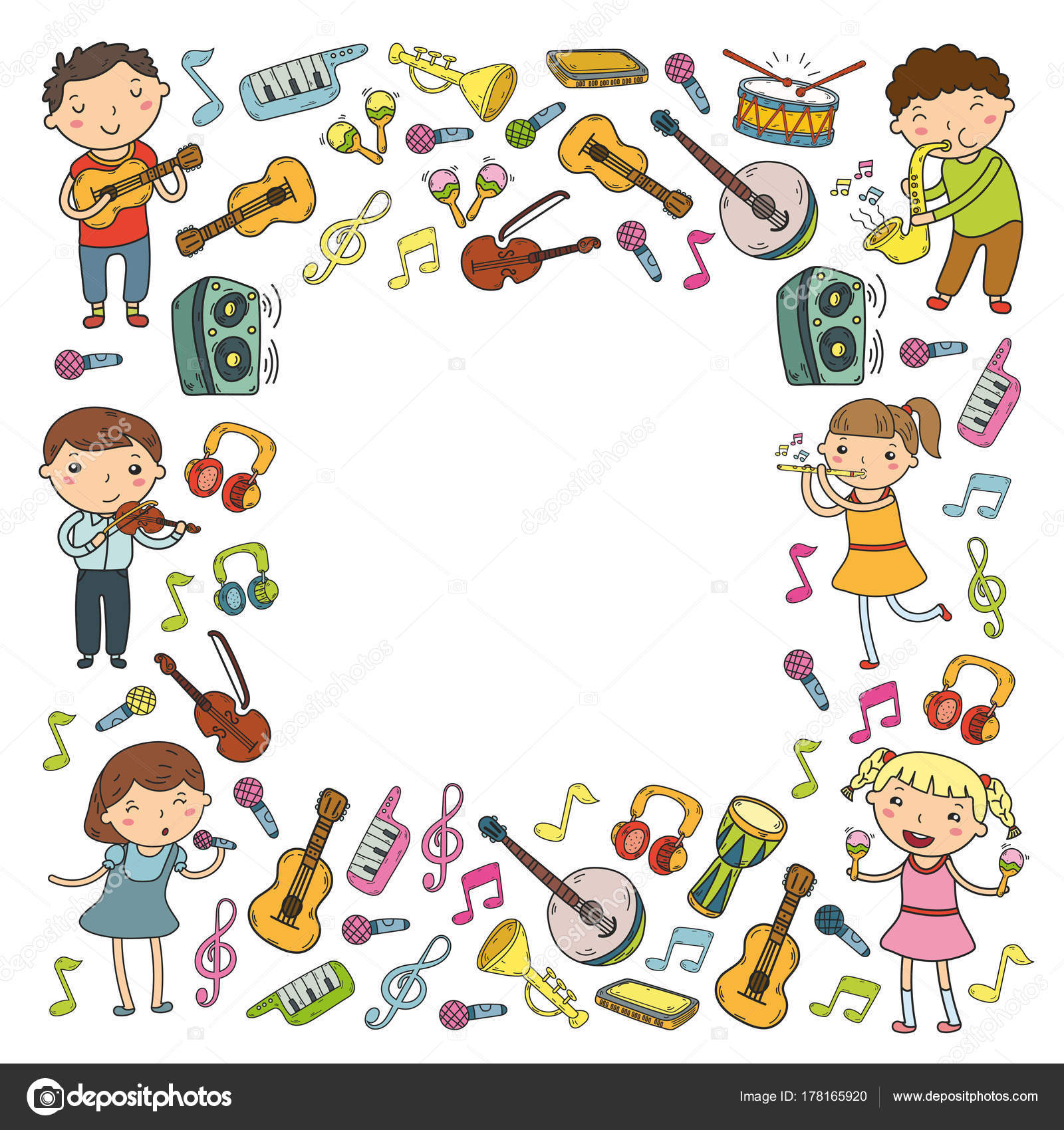 Children singing songs, playing musical instruments Kindergarten Music school for kids Doodle icon collection Illustration for children music lessons ...