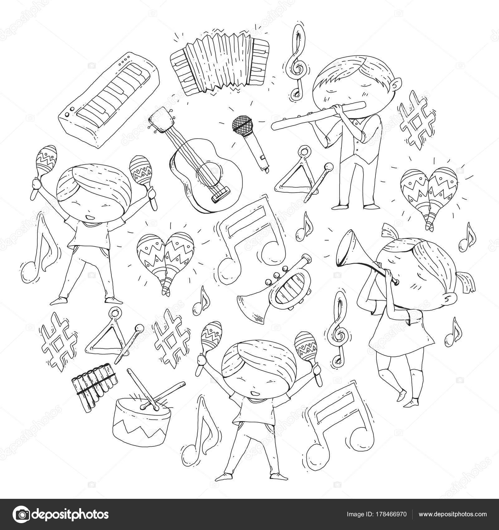 Imágenes Niños Haciendo Teatro Para Colorear Escuela De Vector De