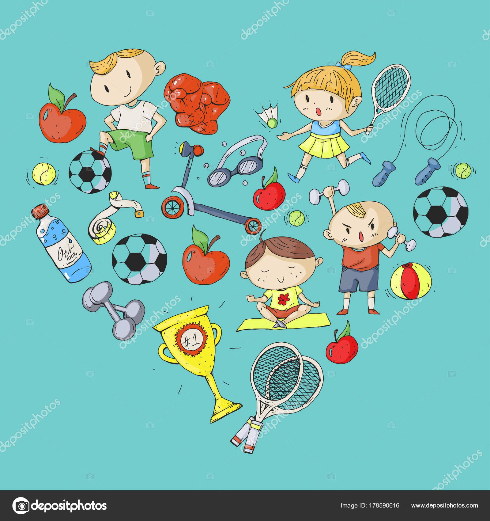 Children Sport Kids Drawing Kindergarten School College Preschool Soccer Football Tennis Running Boxing Rugby Yoga Swimming Stock Vector C Helen F 178590616