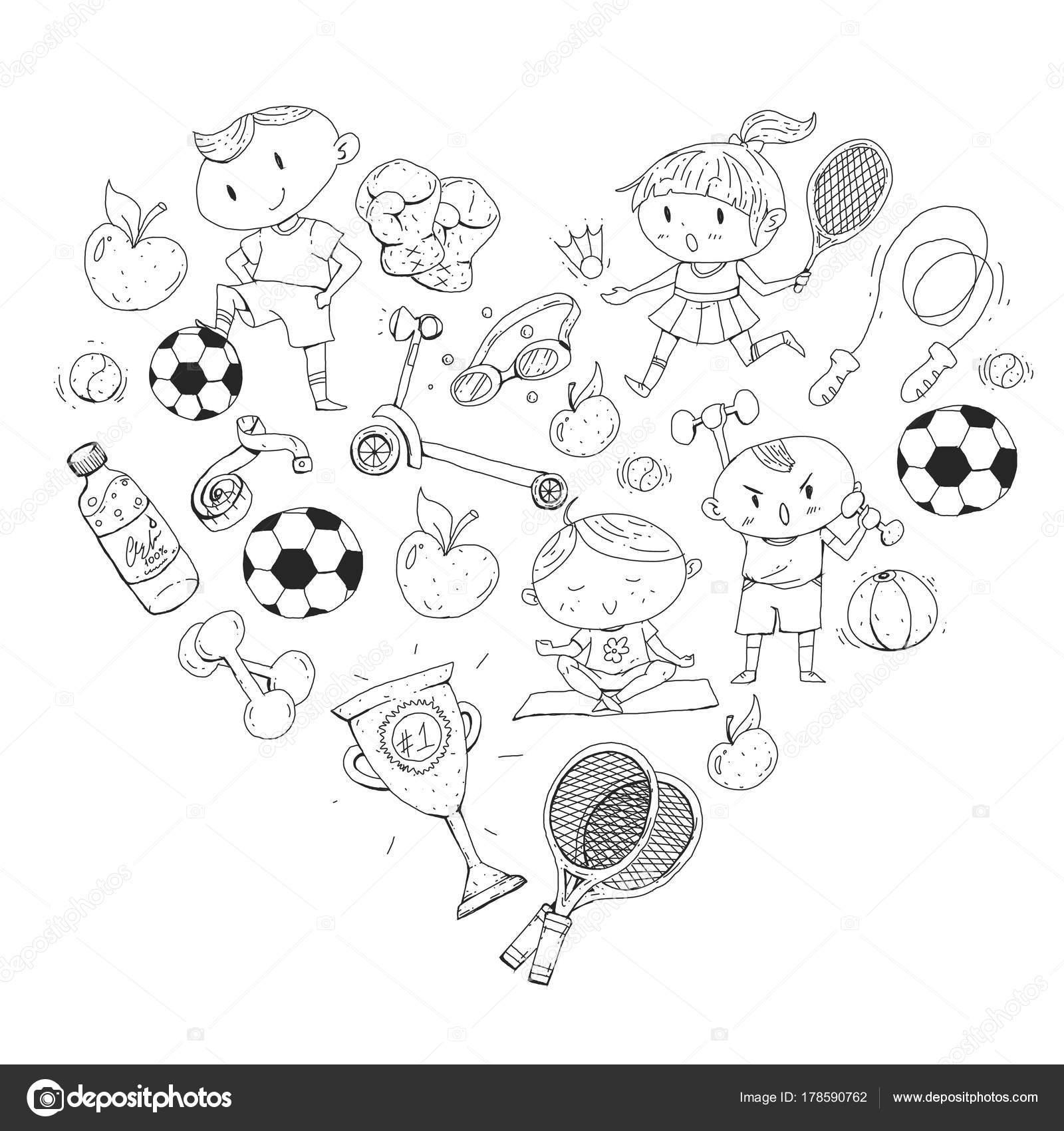 Kinder Sport Kinder Zeichnen Kindergarten Schule