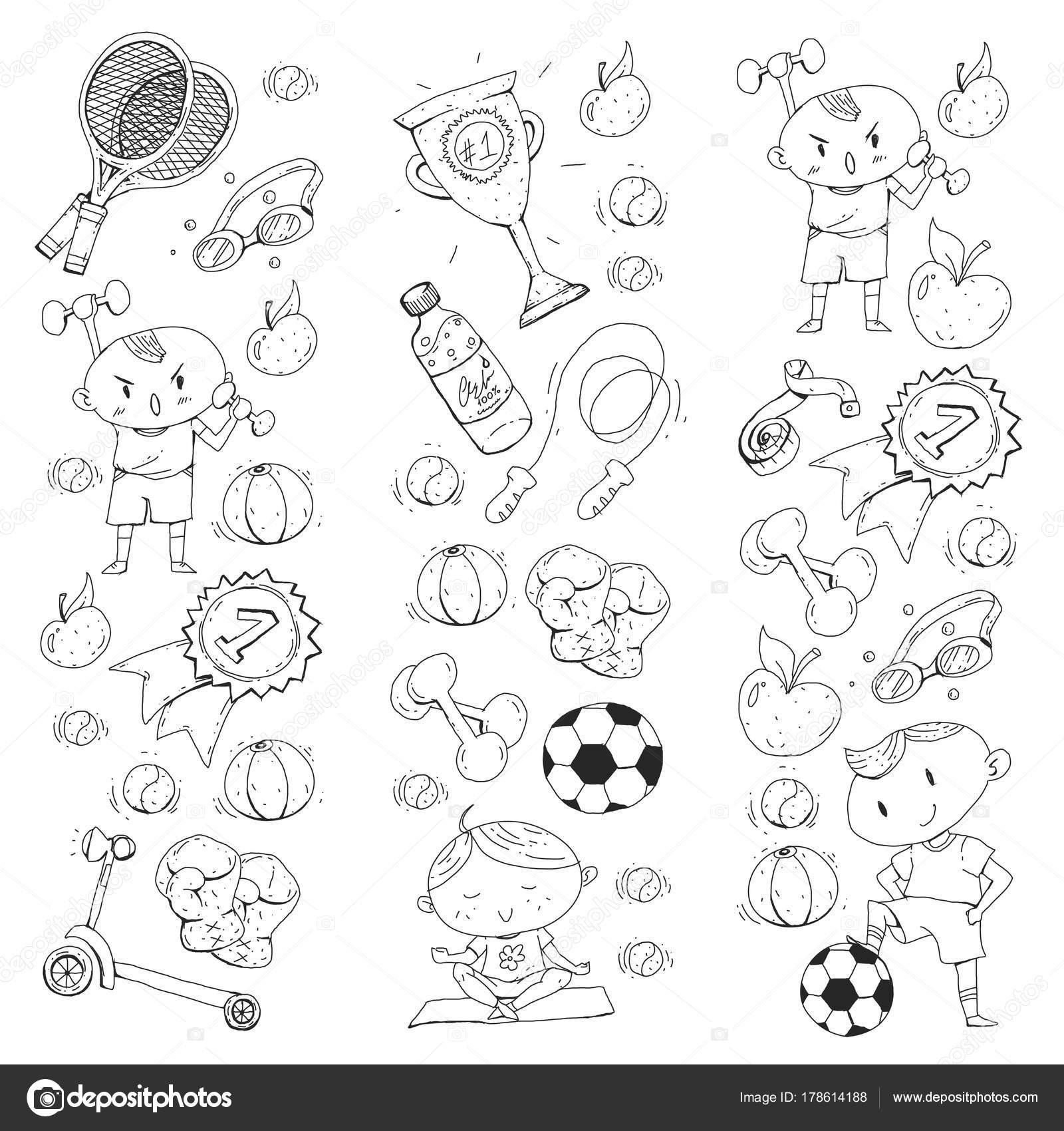 Bambini sport. Disegno dei bambini. Scuola materna, scuole, college ...
