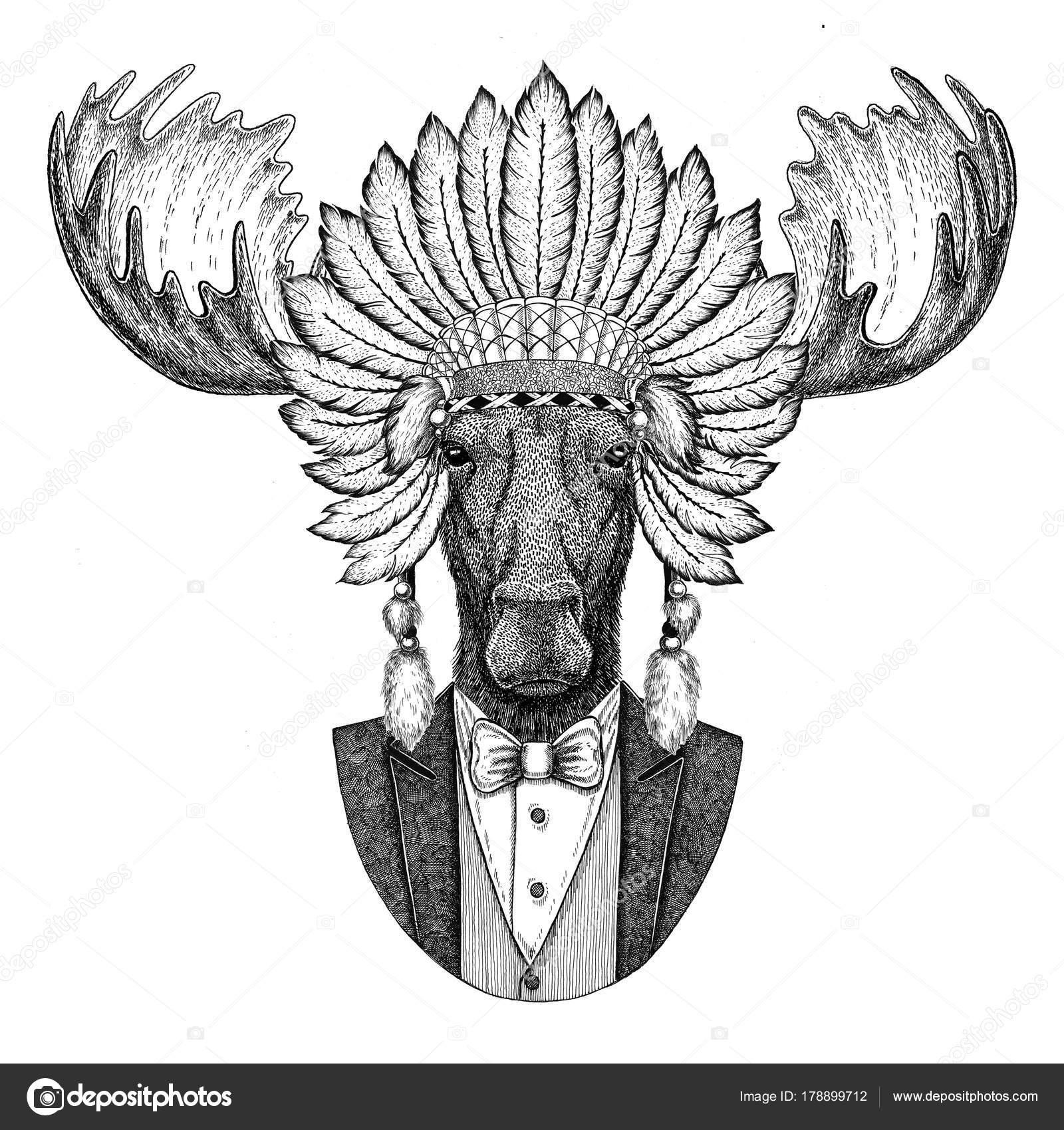 Alces, alces animal salvaje inidan sombrero, cabeza vestido con ...