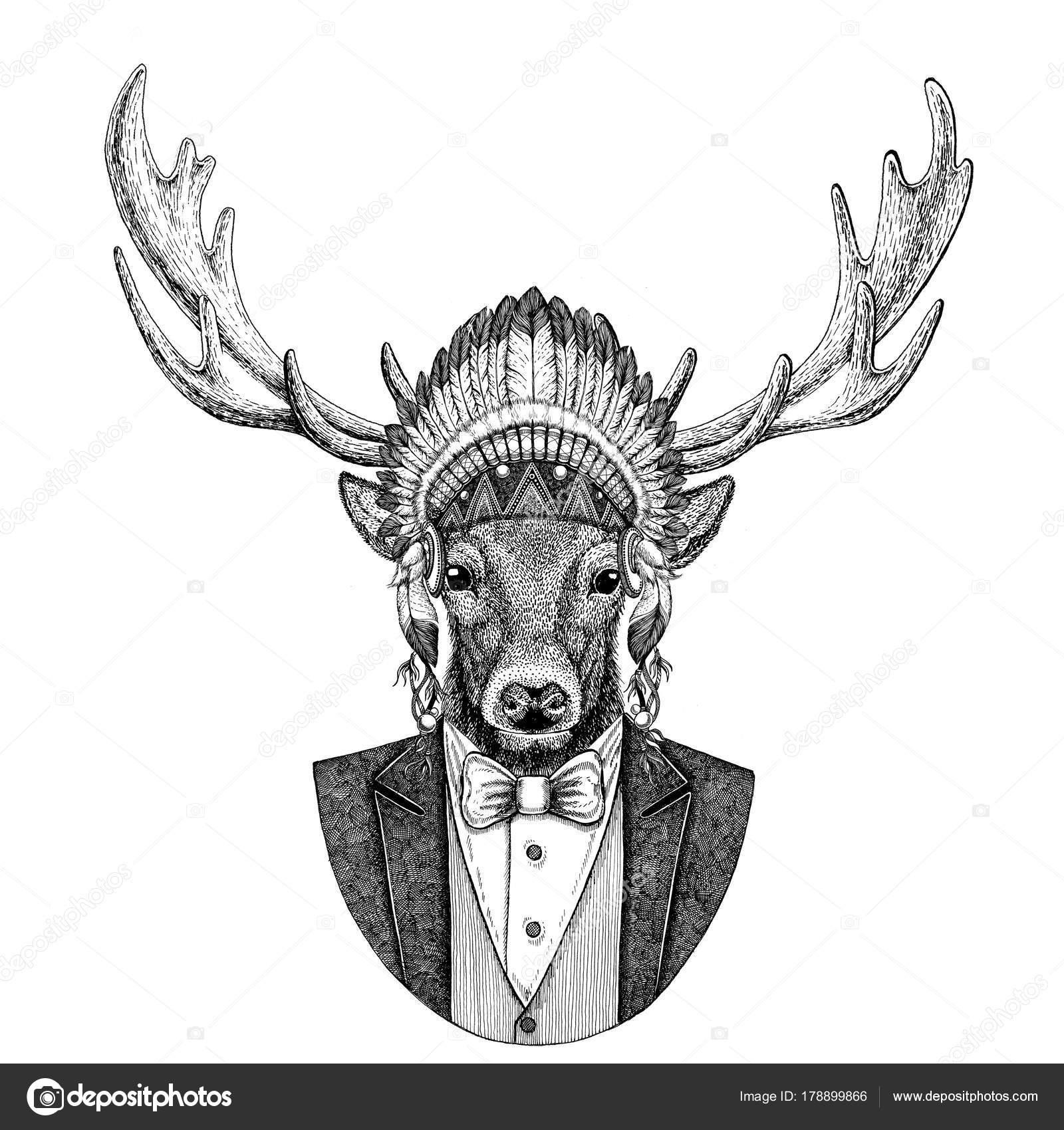 Ciervos salvajes usan inidan sombrero animal 976943c38e6