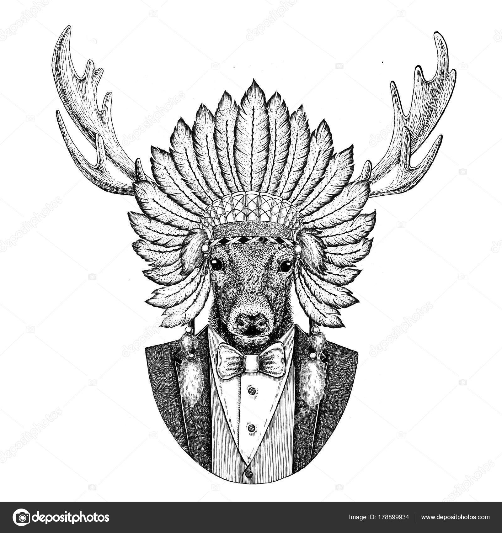 limpido in vista Saldi 2019 ultimo sconto Cervo selvaggio animale cappello da portare inidan, testa ...