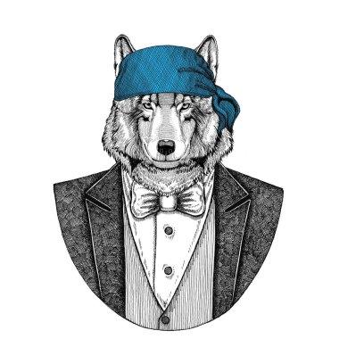 Wolf Dog Wild biker, pirate animal wearing bandana Hand drawn image for tattoo, emblem, badge, logo, patch, t-shirt