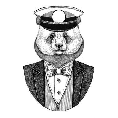 Panda bear, bamboo bear Animal wearing jacket with bow-tie and capitans peaked cap Elegant sailor, navy, capitan, pirate. Image for tattoo, t-shirt, emblem, badge, logo, patches