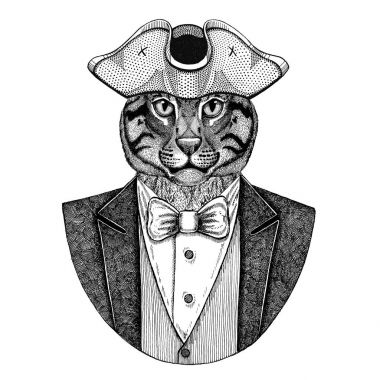 Wild cat Fishing cat Animal wearing cocked hat, tricorn Hand drawn image for tattoo, t-shirt, emblem, badge, logo, patches