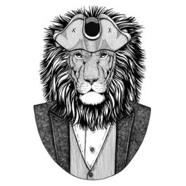 Wild Lion Animal wearing cocked hat, tricorn Hand drawn image for tattoo, t-shirt, emblem, badge, logo, patches