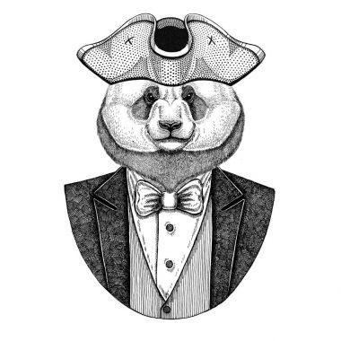 Panda bear, bamboo bear Animal wearing cocked hat, tricorn Hand drawn image for tattoo, t-shirt, emblem, badge, logo, patches
