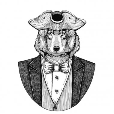 Wolf, Dog Animal wearing cocked hat, tricorn Hand drawn image for tattoo, t-shirt, emblem, badge, logo, patches