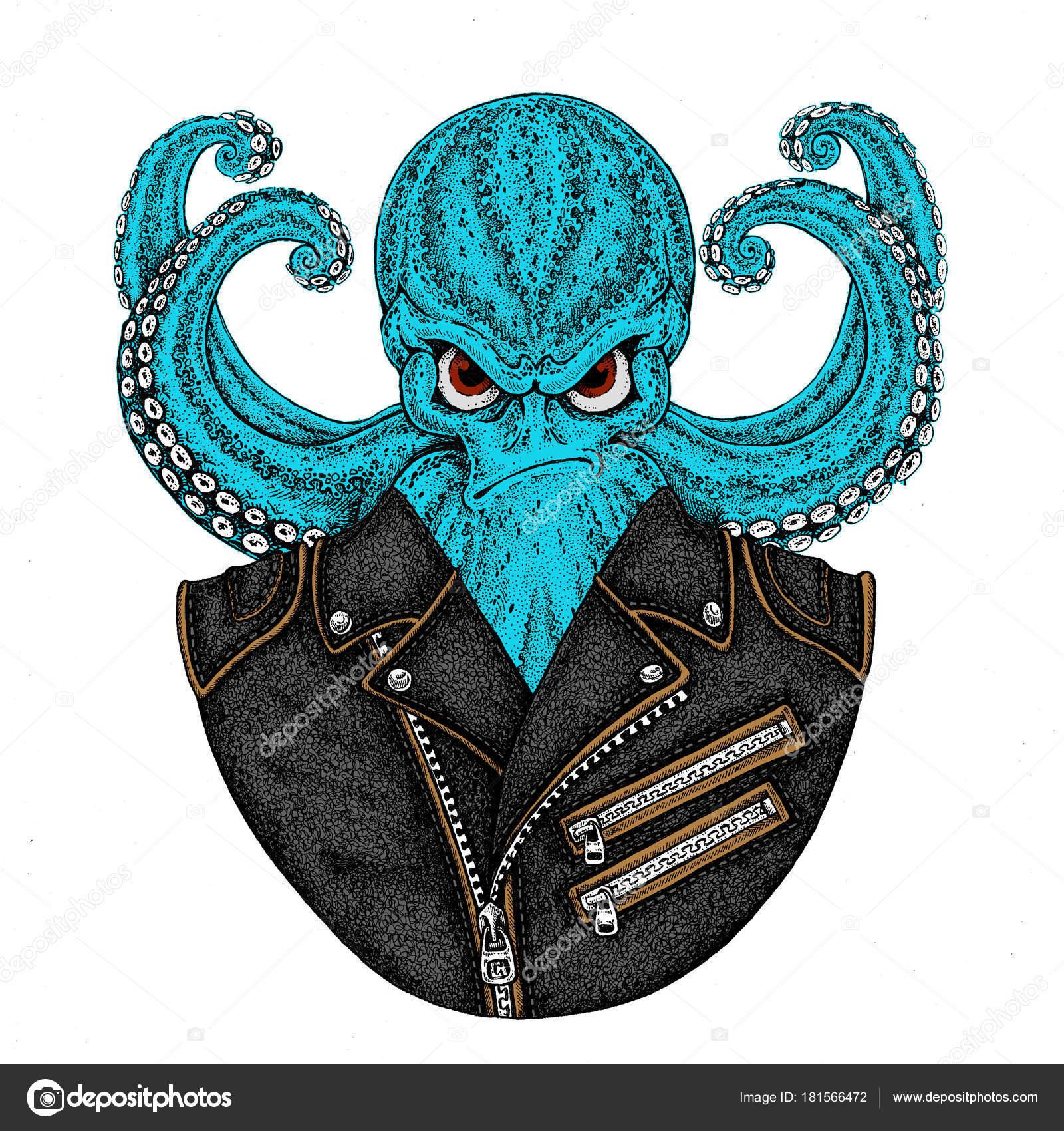 Octopus Chaqueta Dibujos Animados Pulpo De Con Vintage Personaje FqwrBF