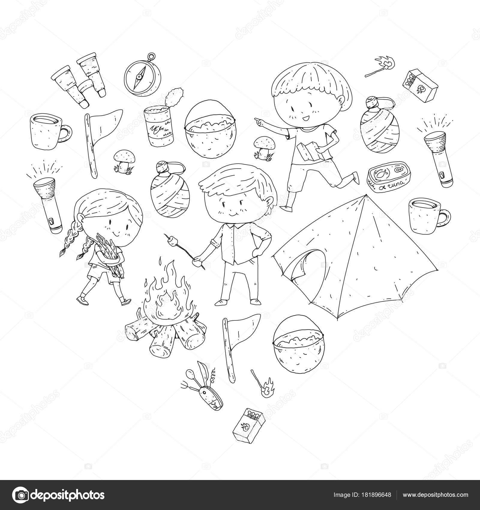 Niños verano camping jardín de niños, vacaciones con niños en verano ...