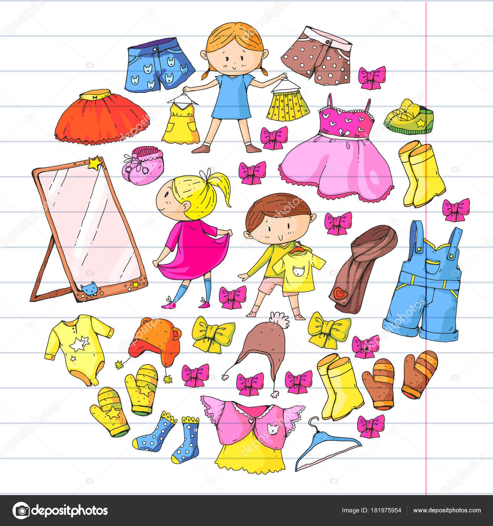 Bambini scuola dell infanzia bambini e bambine con i vestiti nuovi  abbigliamento collezione abbigliamento abiti eda1d6b6e56