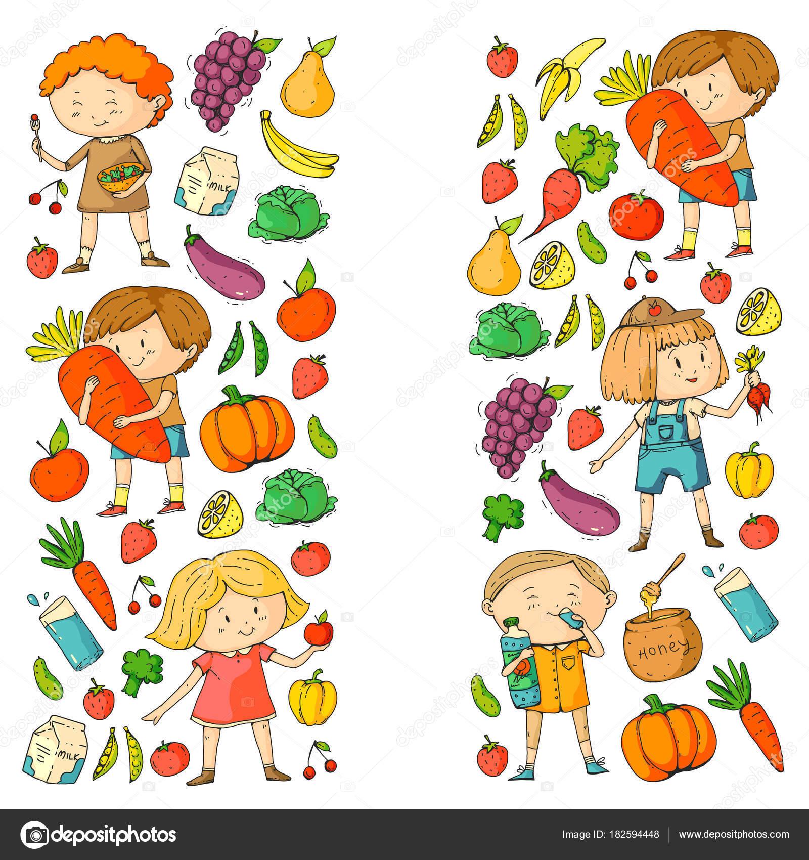 Kinder. Schule und Kindergarten. Gesund essen und trinken. Kinder ...