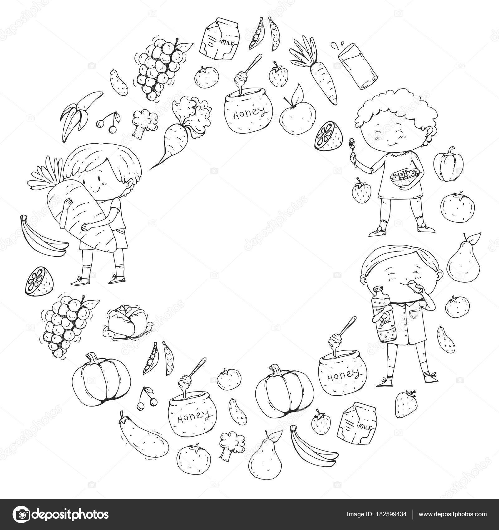 Imágenes Jugos Naturales Para Colorear A Los Niños Escuela Y