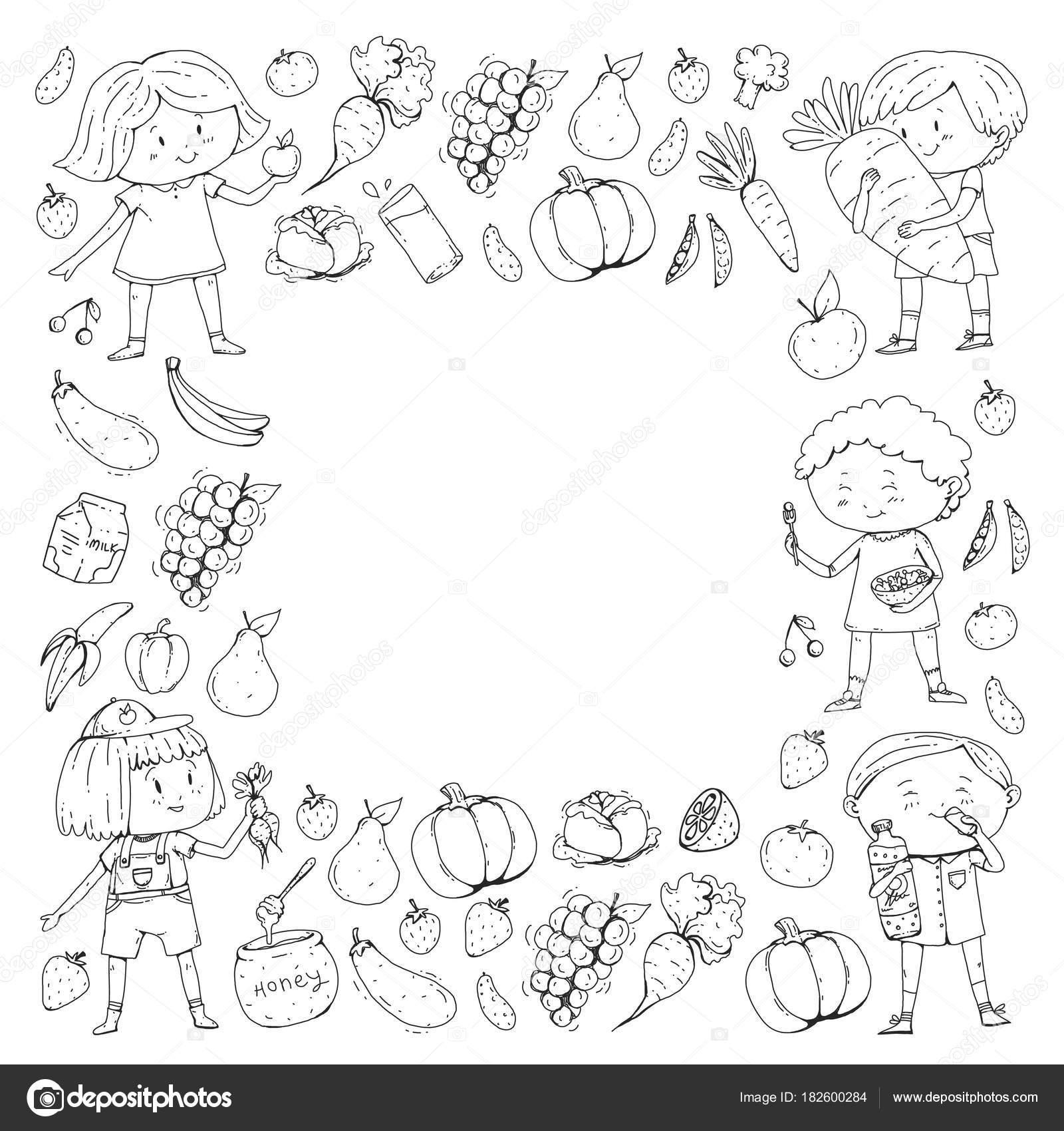 Imágenes Niños Comiendo Frutas Y Verduras Para Colorear A Los