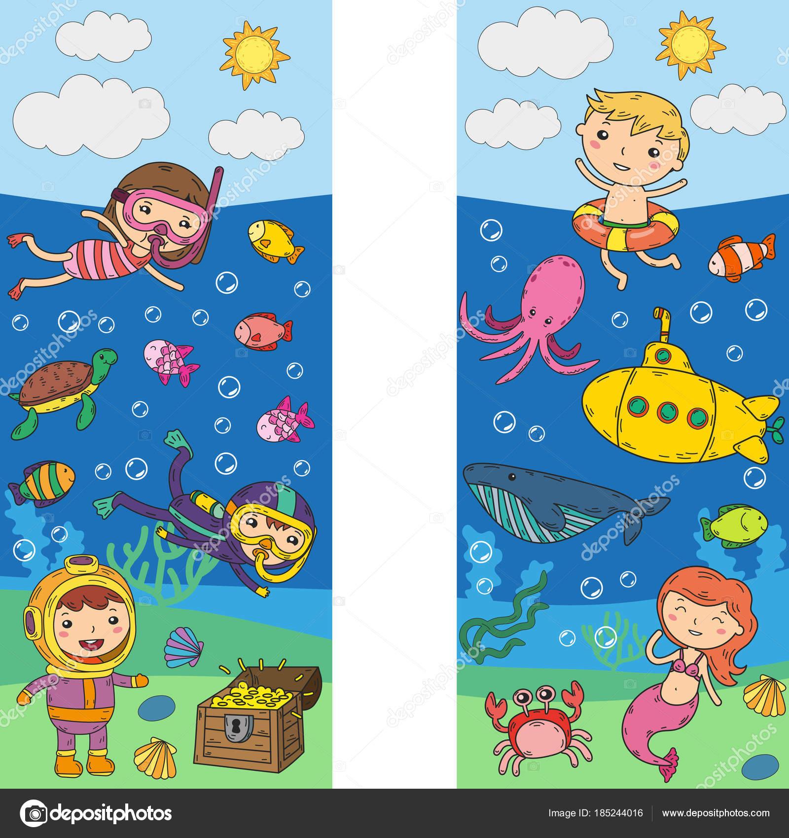 Oceano Dibujo Para Niños Bajo El Agua Parque Acuático De Niños