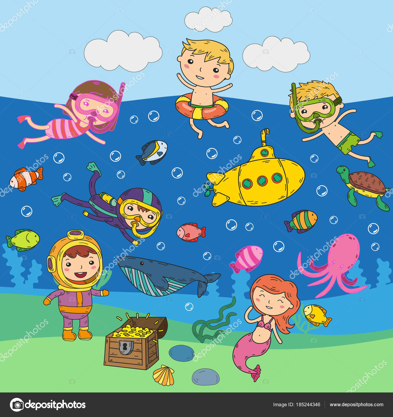 Image result for cartoon children safely swimming