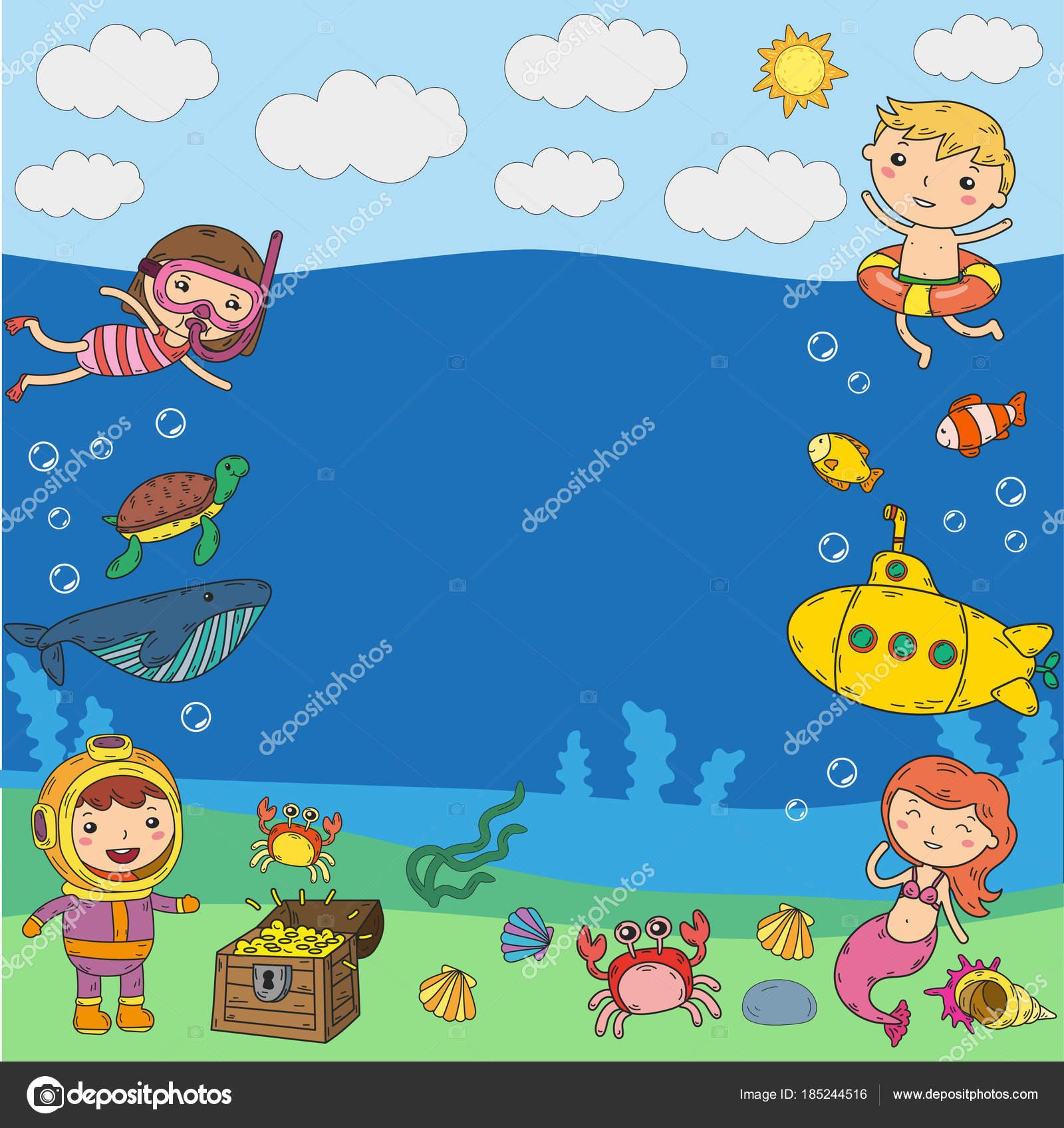 Детский рисунок плавание