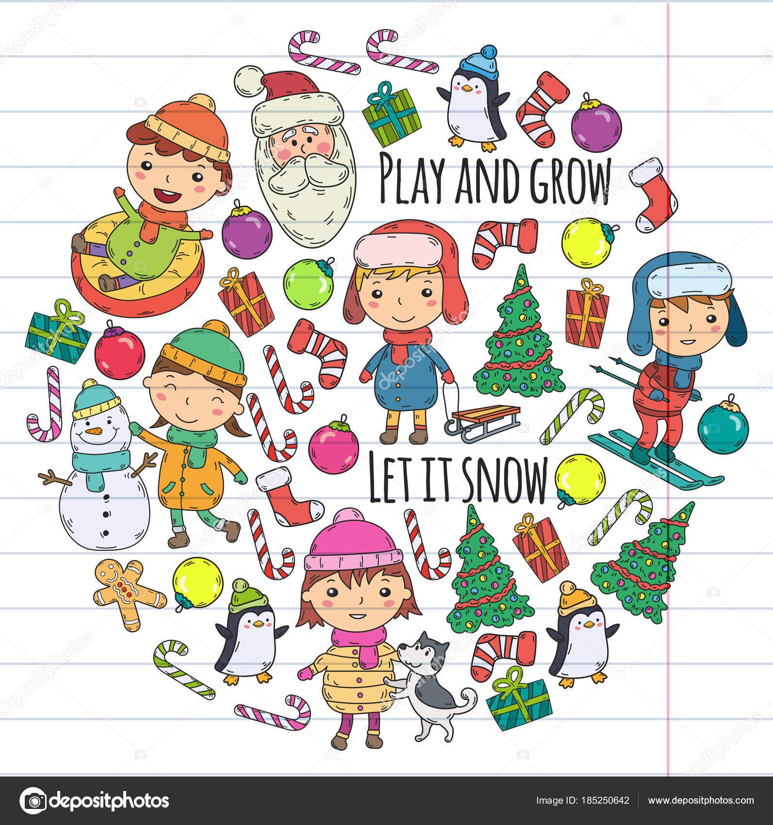 Kinder und Winterspiele - Ski, Rodel, Eislaufen Weihnachtsfeier ...