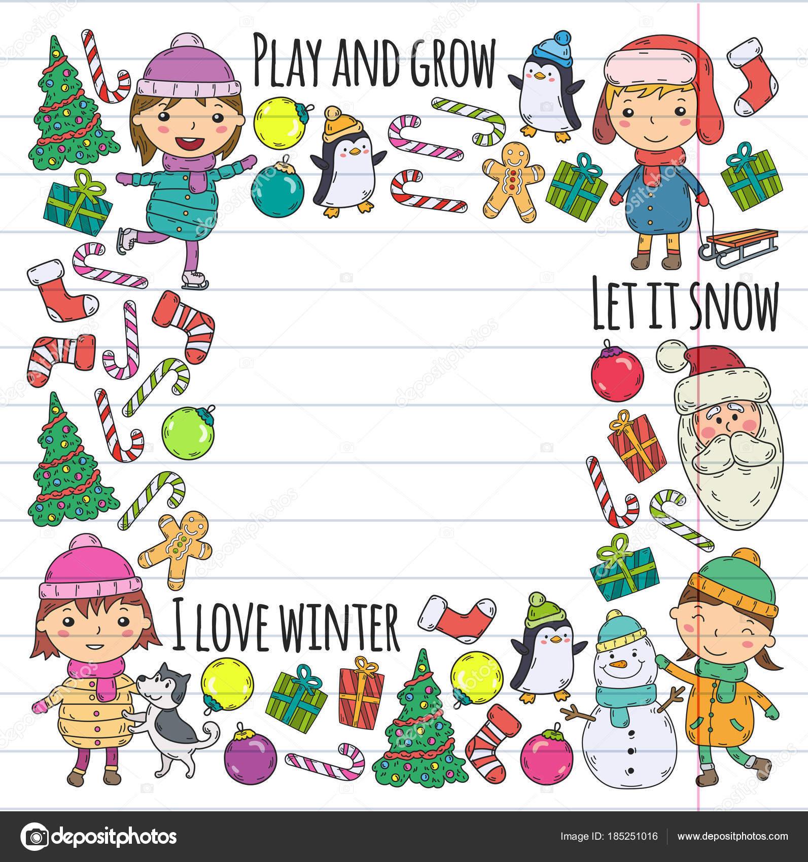 Children and winter games - ski, sledge, ice skating Christmas ...