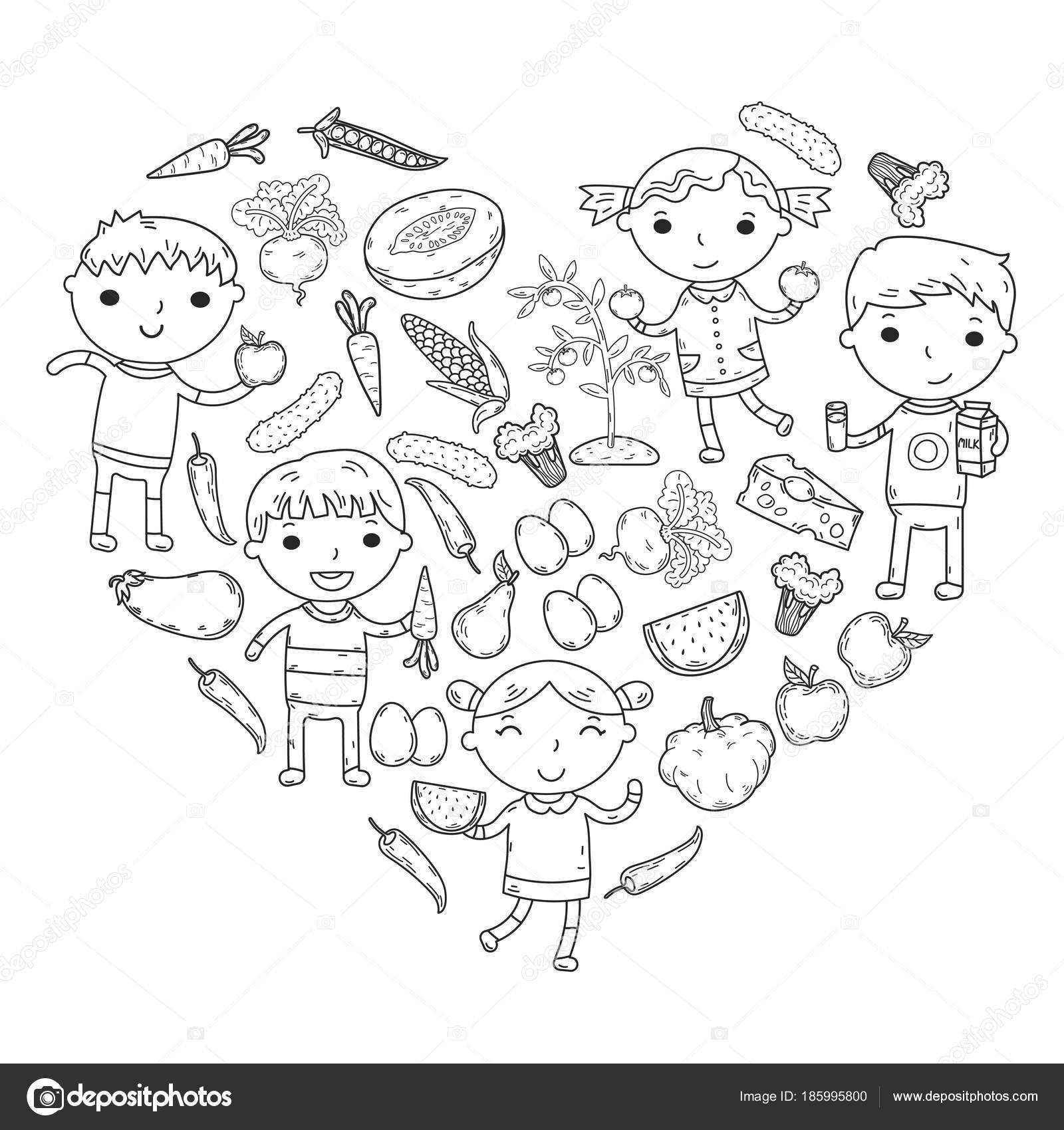 Imágenes Niño Comiendo Frutas Para Colorear Kinder Guardería