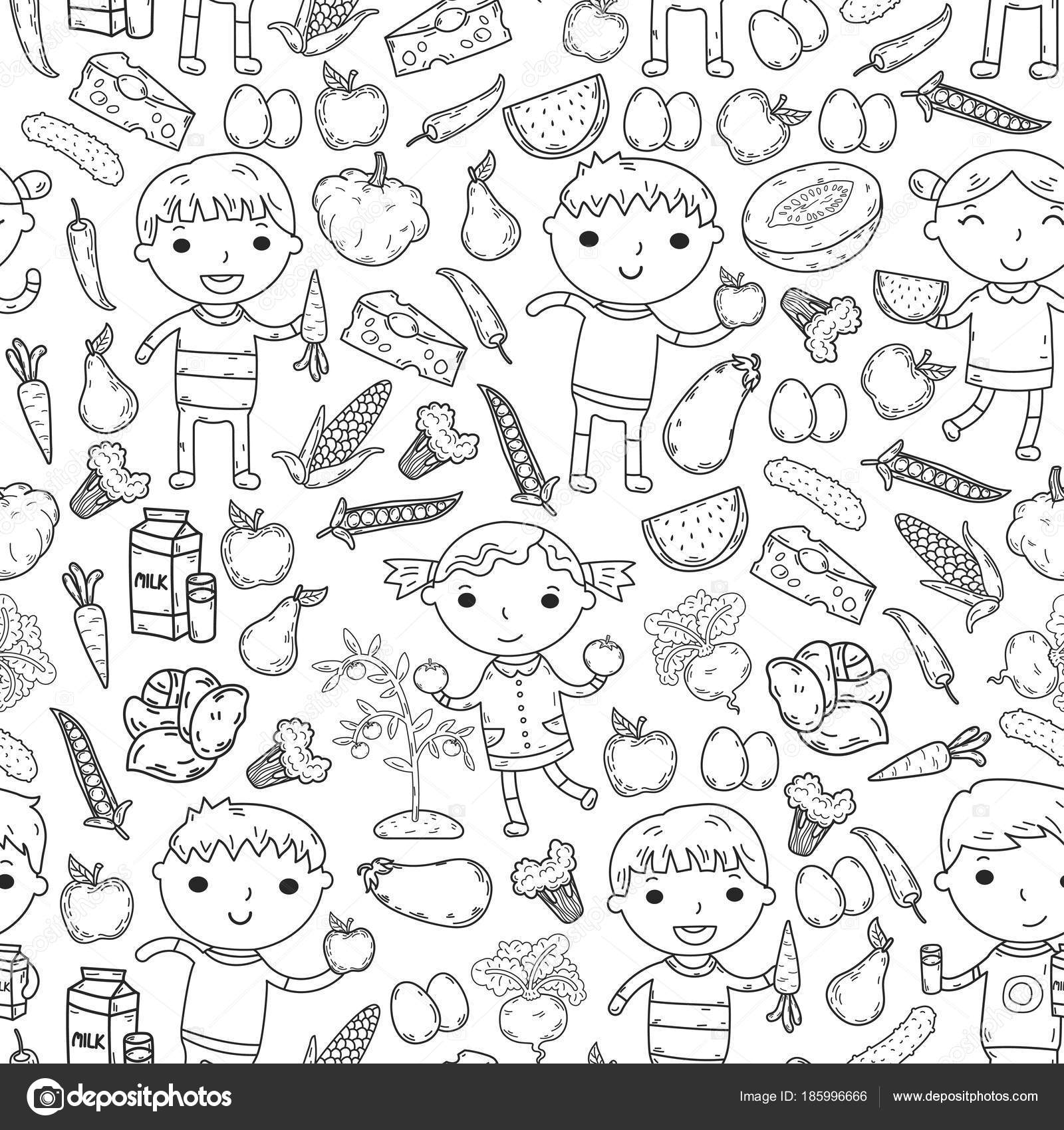 Kindergarten Nursery Preschool School Kids Eat Healthy Food Boys And Girls With Fruits Vegetables