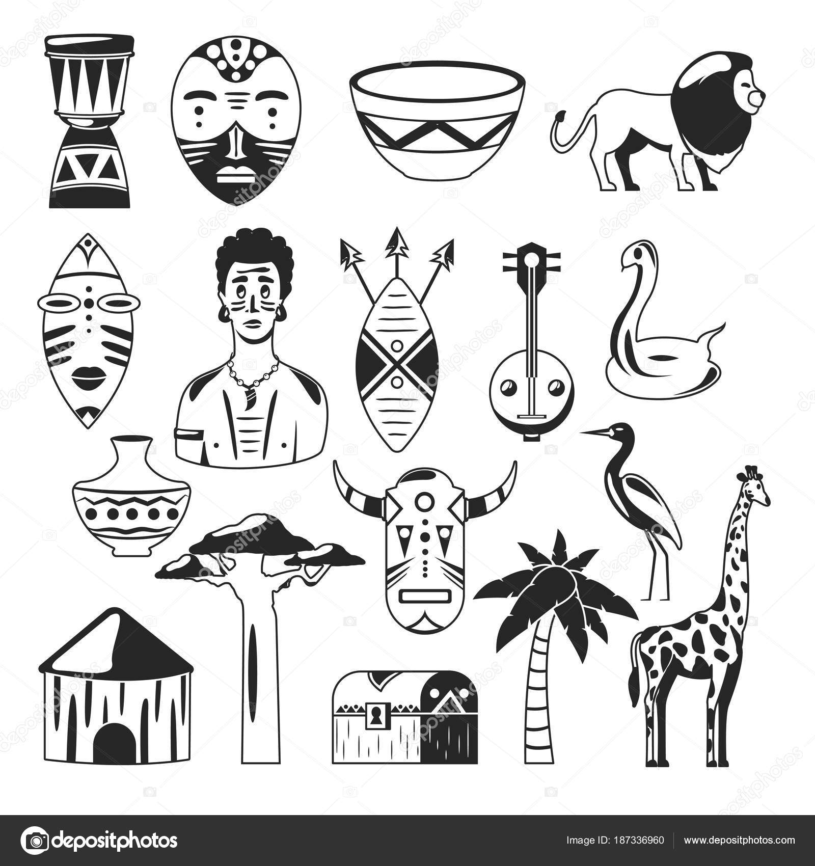 Africa  African images  Vector icons  Giraffe, mask, man