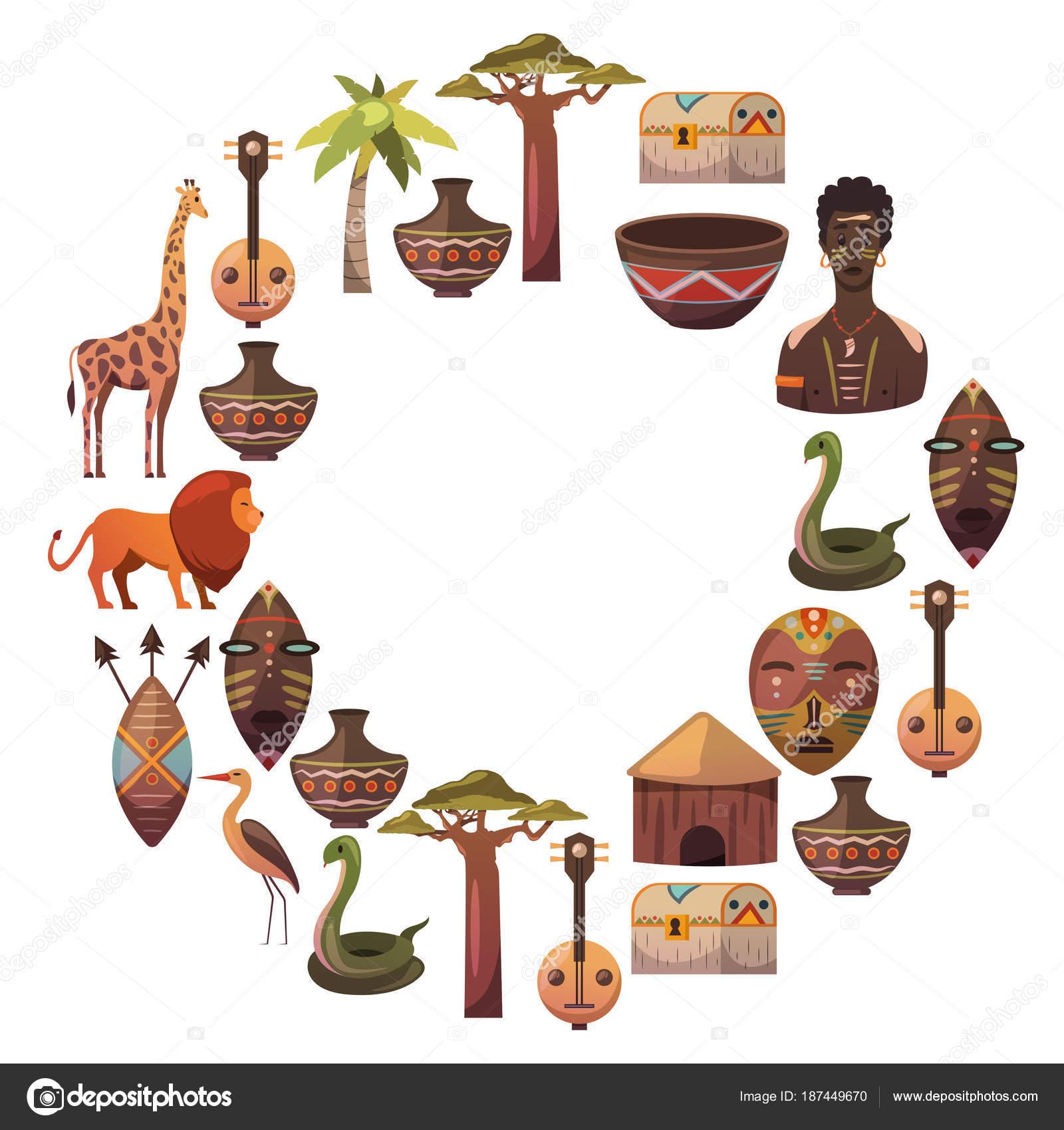África. Marco para cartel. Viajar a iconos étnicos de África ...