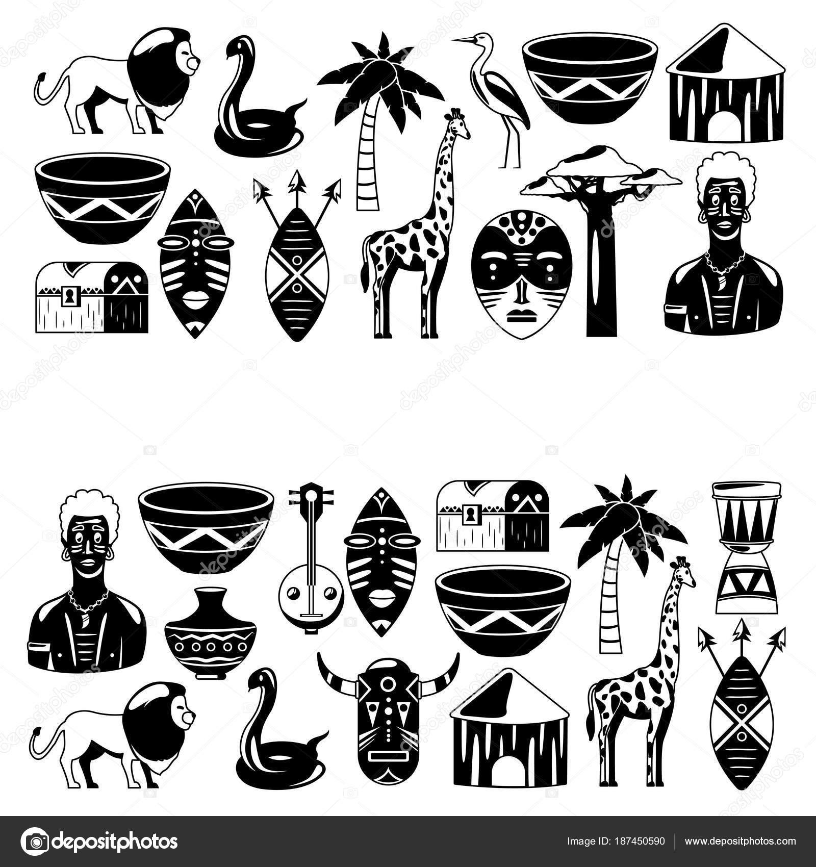 Afryki Banery Afryki Ikony I Elementów Projektu Do Banerów