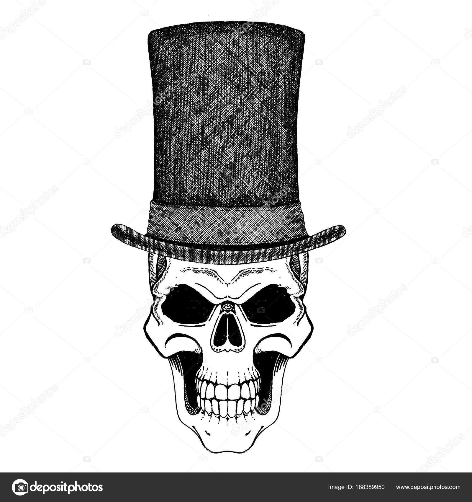 Imposición de una calavera con sombrero de cilindro con arco y copas en el  estilo de steampunk - calavera con sombrero de copa — Foto de Helen F —  Foto de ... d8fe035c242