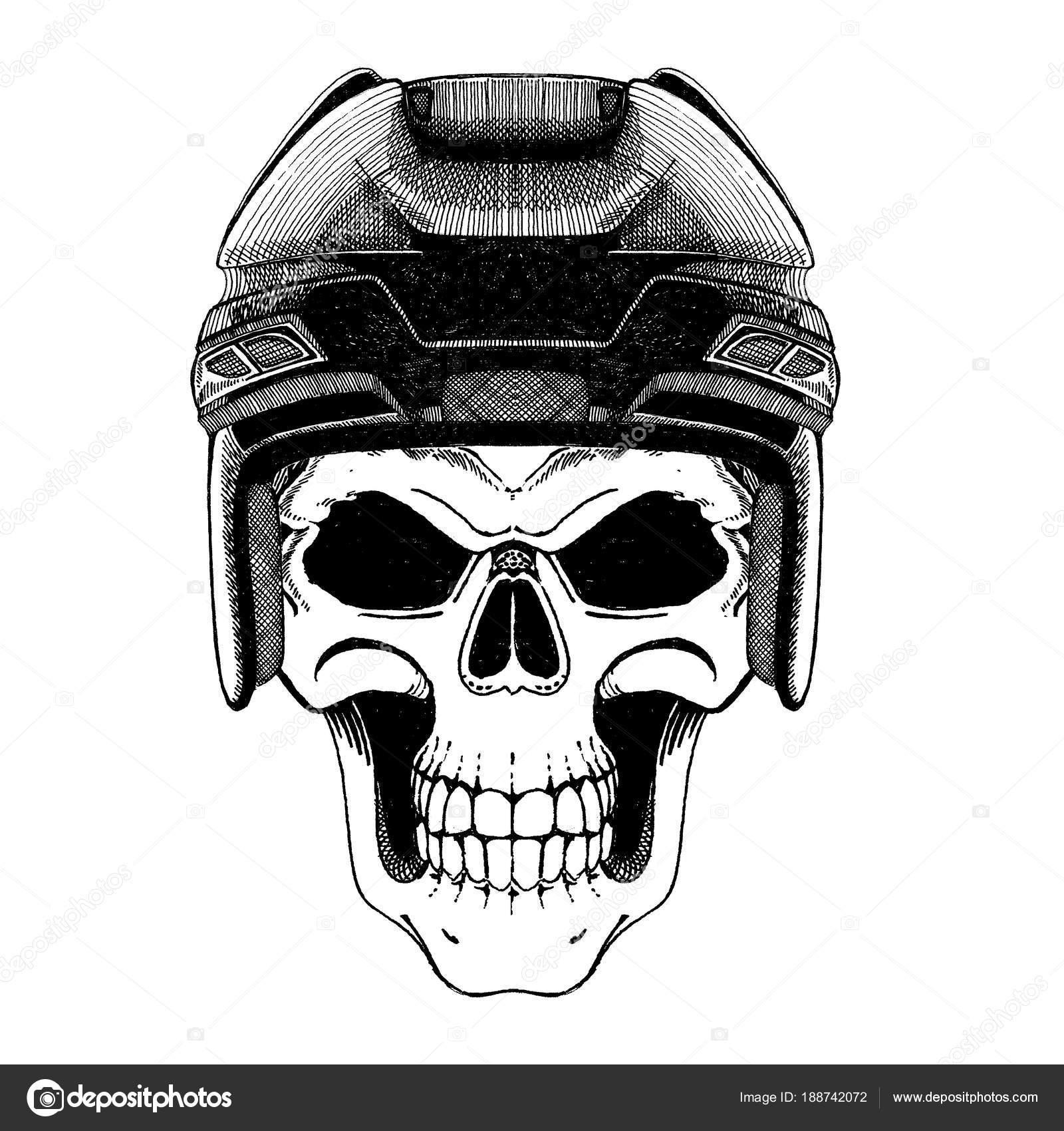 Monochrome Darstellung des Schädels. Eishockey-Spieler — Stockfoto ...