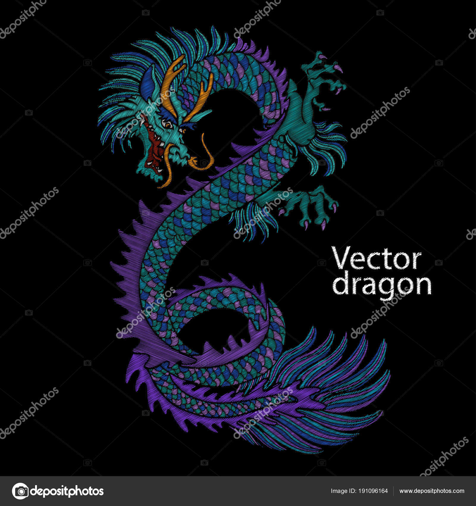 Embroidery of Chinese dragon  Classical embroidery asian blue dragon